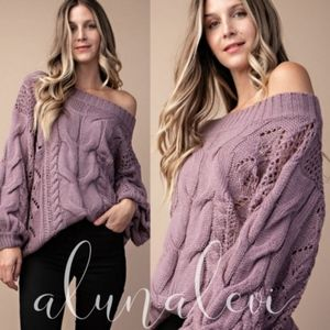 AUTUMN Cable Knit Sweater- LIGHT PURPLE
